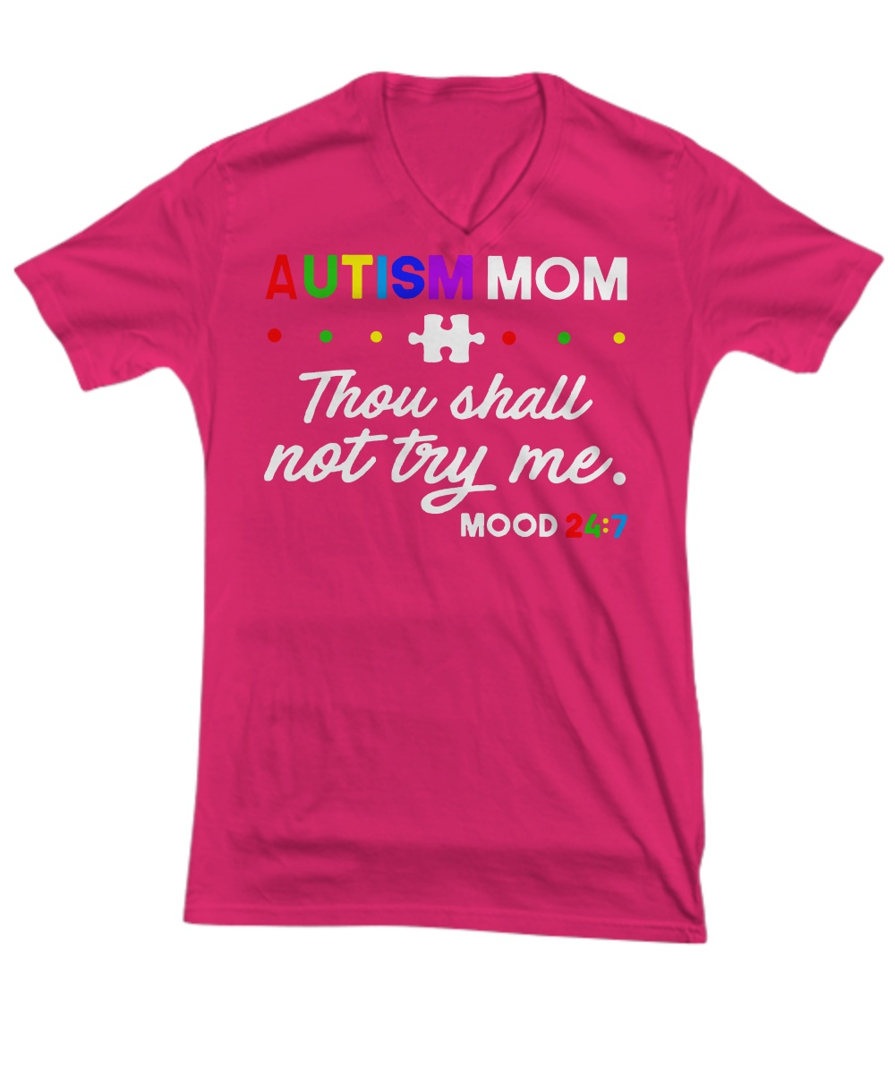 Autism mom thou shall not try me mood V-Neck