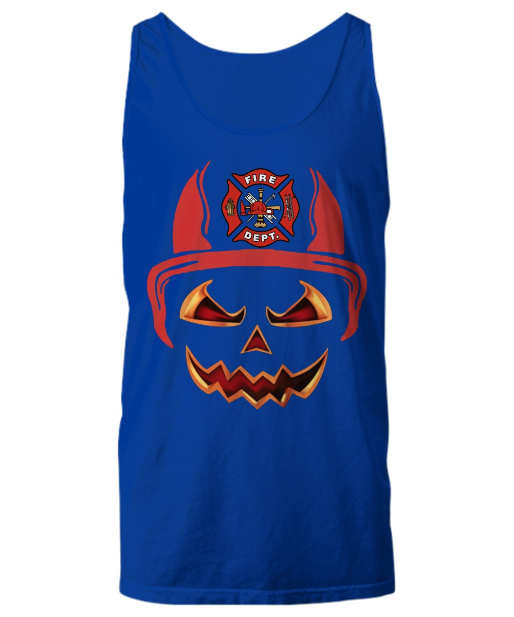 Fire department red horn pumpkin halloween Tank Top