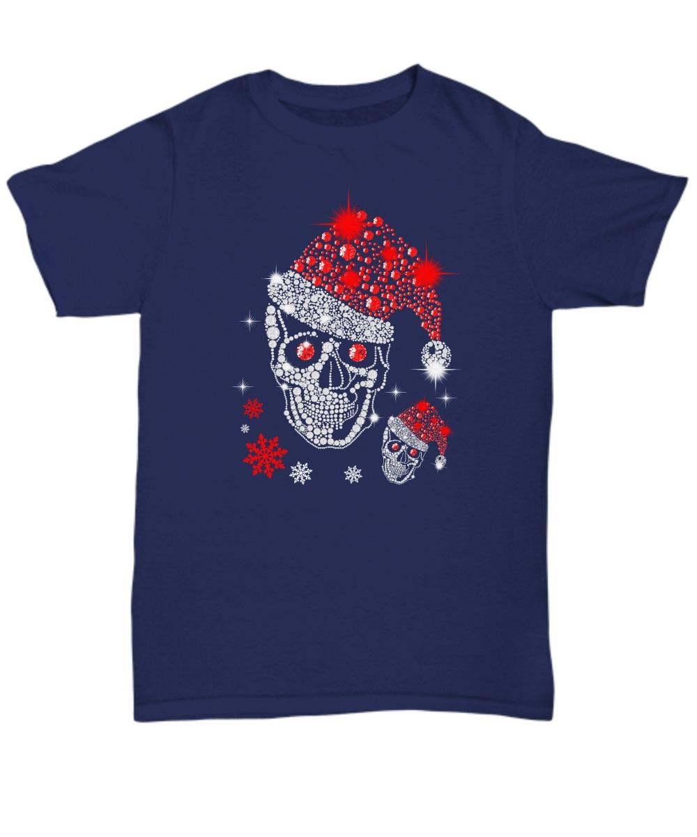 Christmas Rhinestone Smiling Skull classic shirt