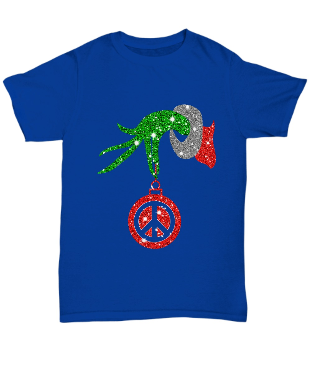 Grinch hand holding peace ornament Christmas classic shirt