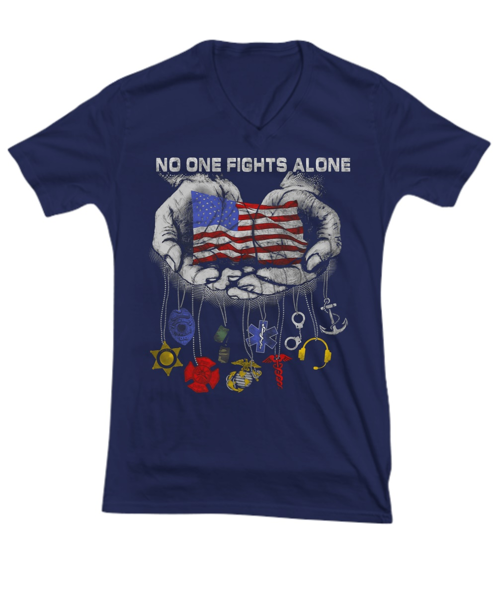 No one fights alone American flag in hand v-neck