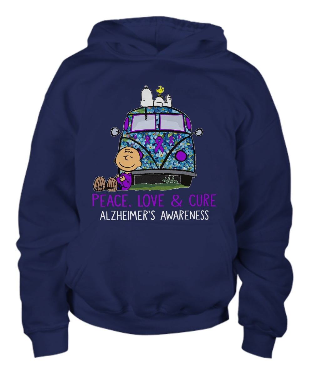 Snoopy charlie peace love & cure alzheimer's awareness Hoodie