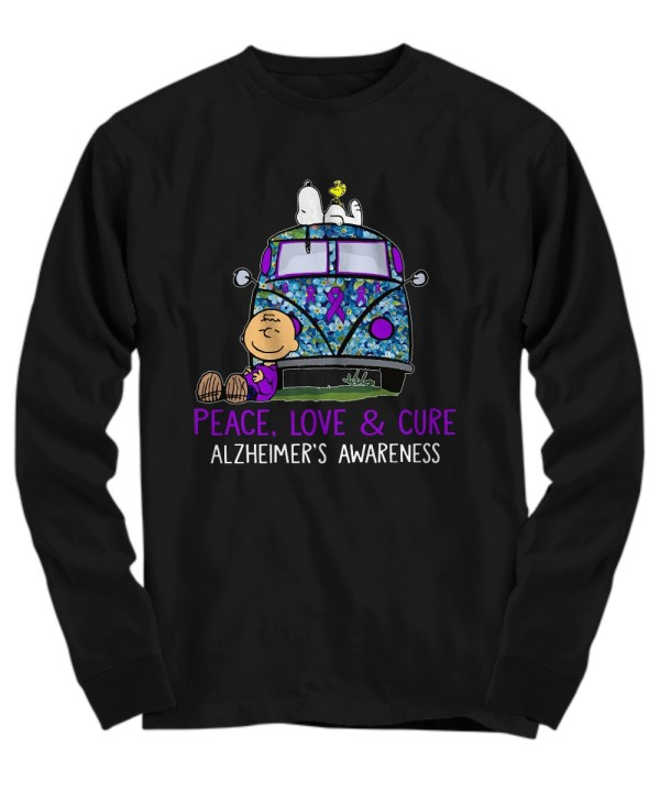 Snoopy charlie peace love & cure alzheimer's awareness Long Sleeve