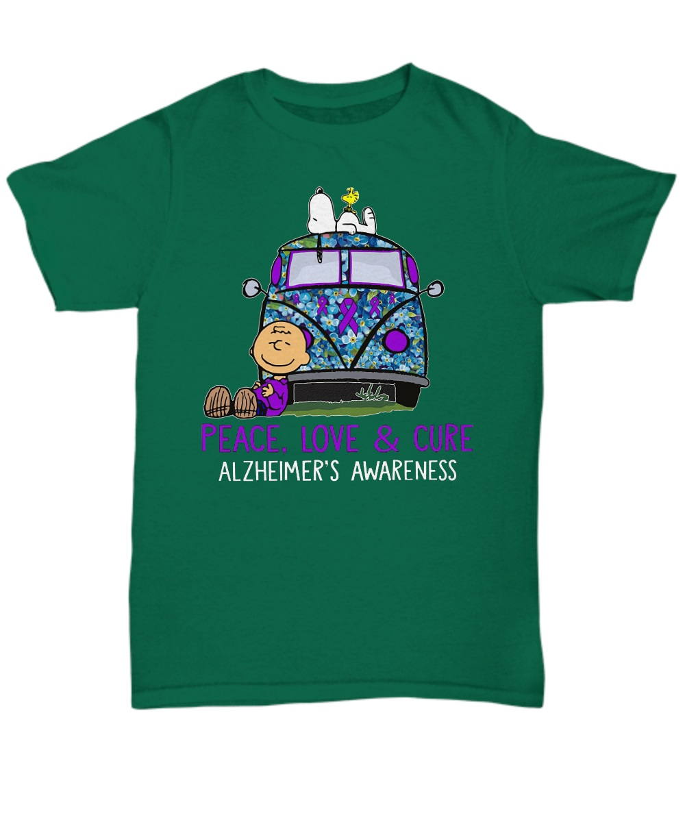 Snoopy charlie peace love & cure alzheimer's awareness Shirt