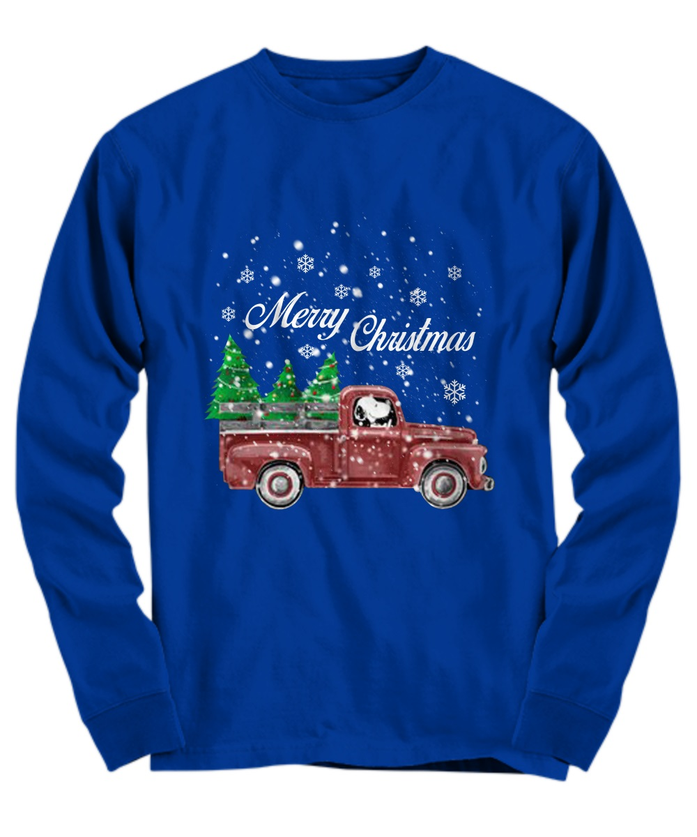 Snoopy drive red truck merry Christmas long sleeve