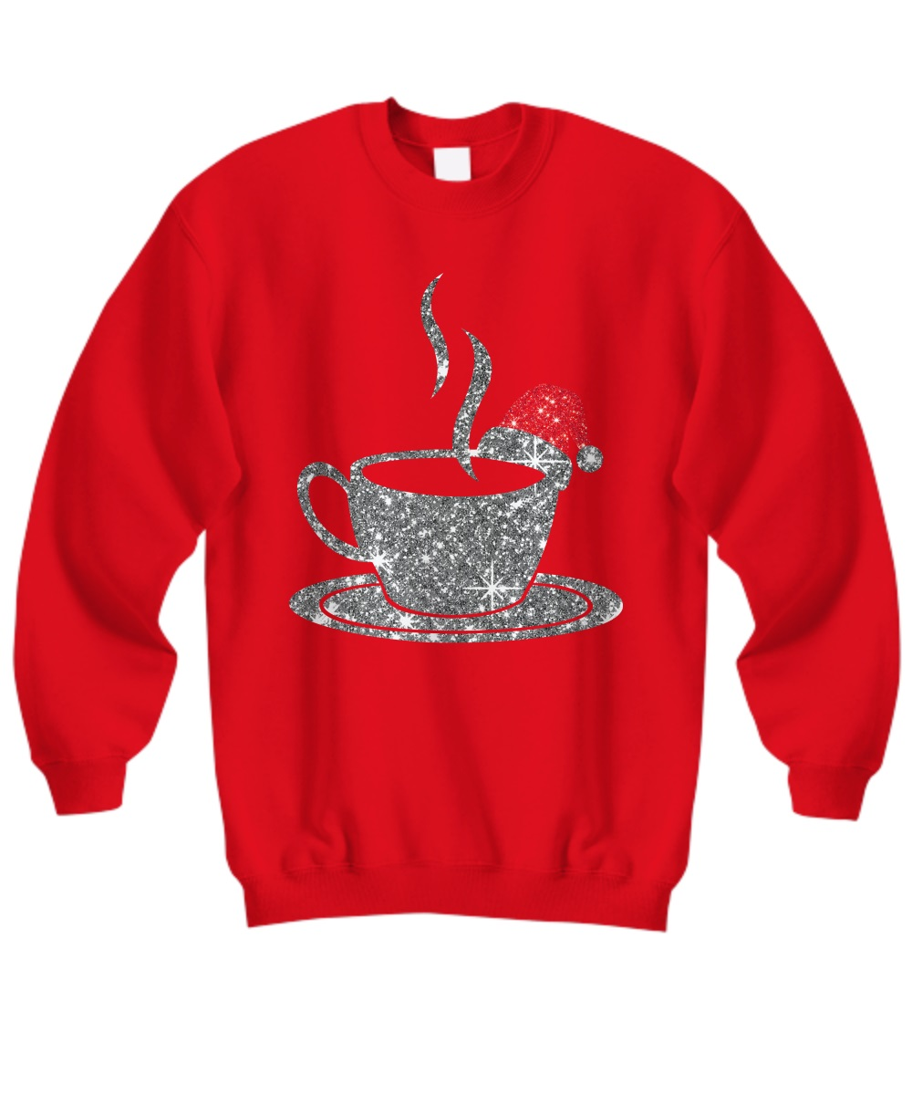 Coffee glitter Christmas sweatshirt
