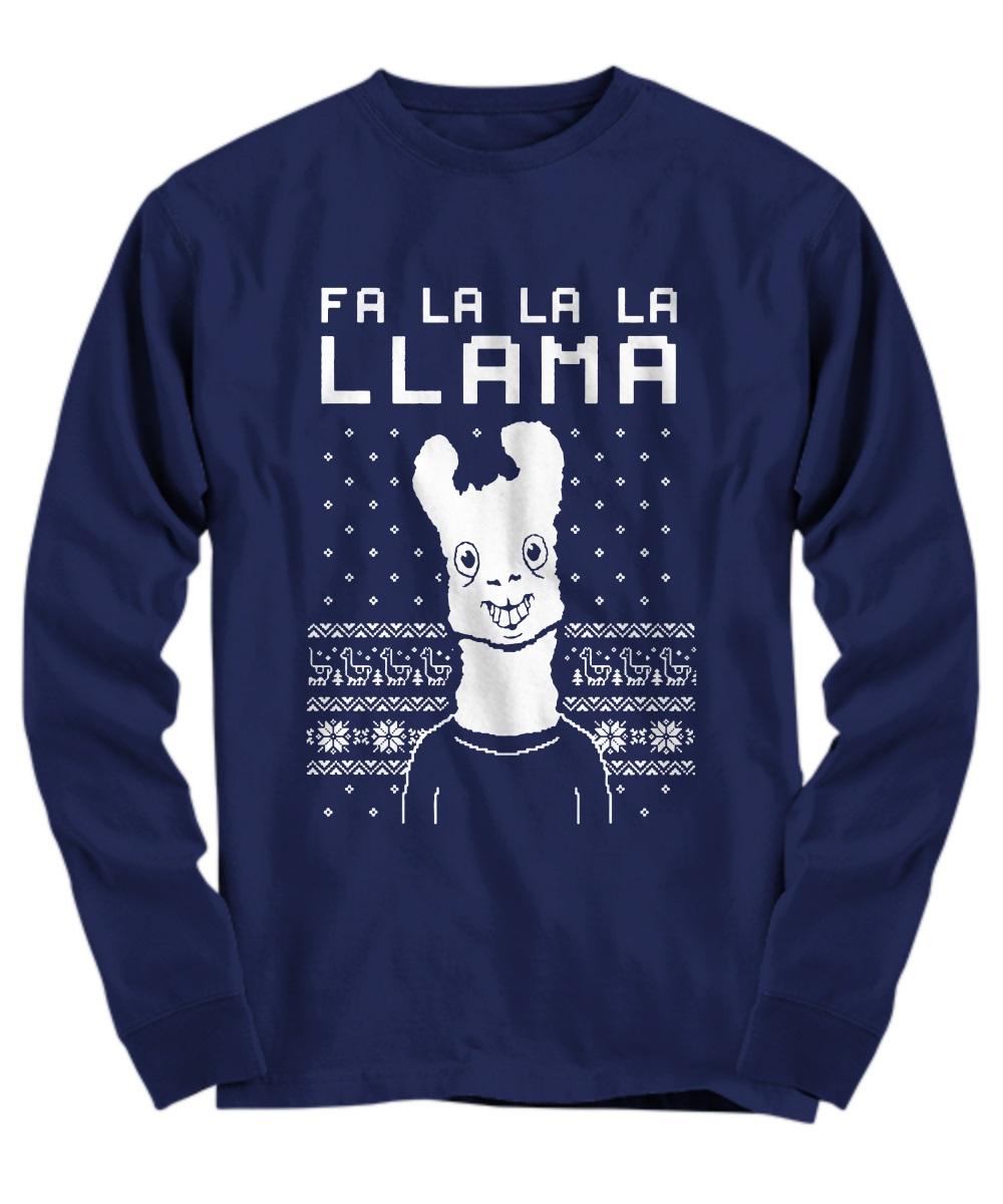 FA La La Llama Ugly Christmas Sweater Funny Xmas long sleeve