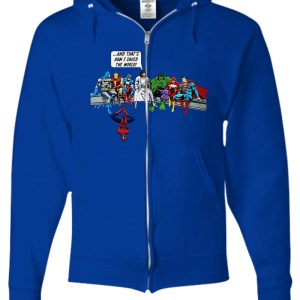 Jesus and Superheroes and That's How I Saved The World zip hoodie