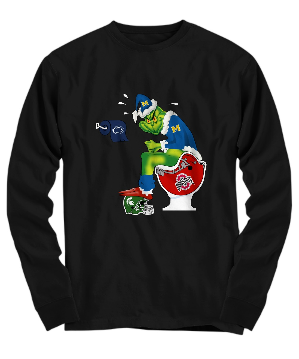 Michigan Grinch shit on Ohio State, MI State and Penn State long sleeve