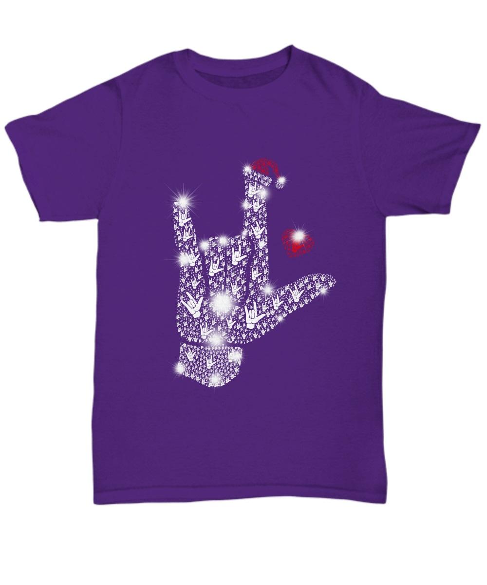 Rock on hand sign Rhinestone Christmas classic shirt