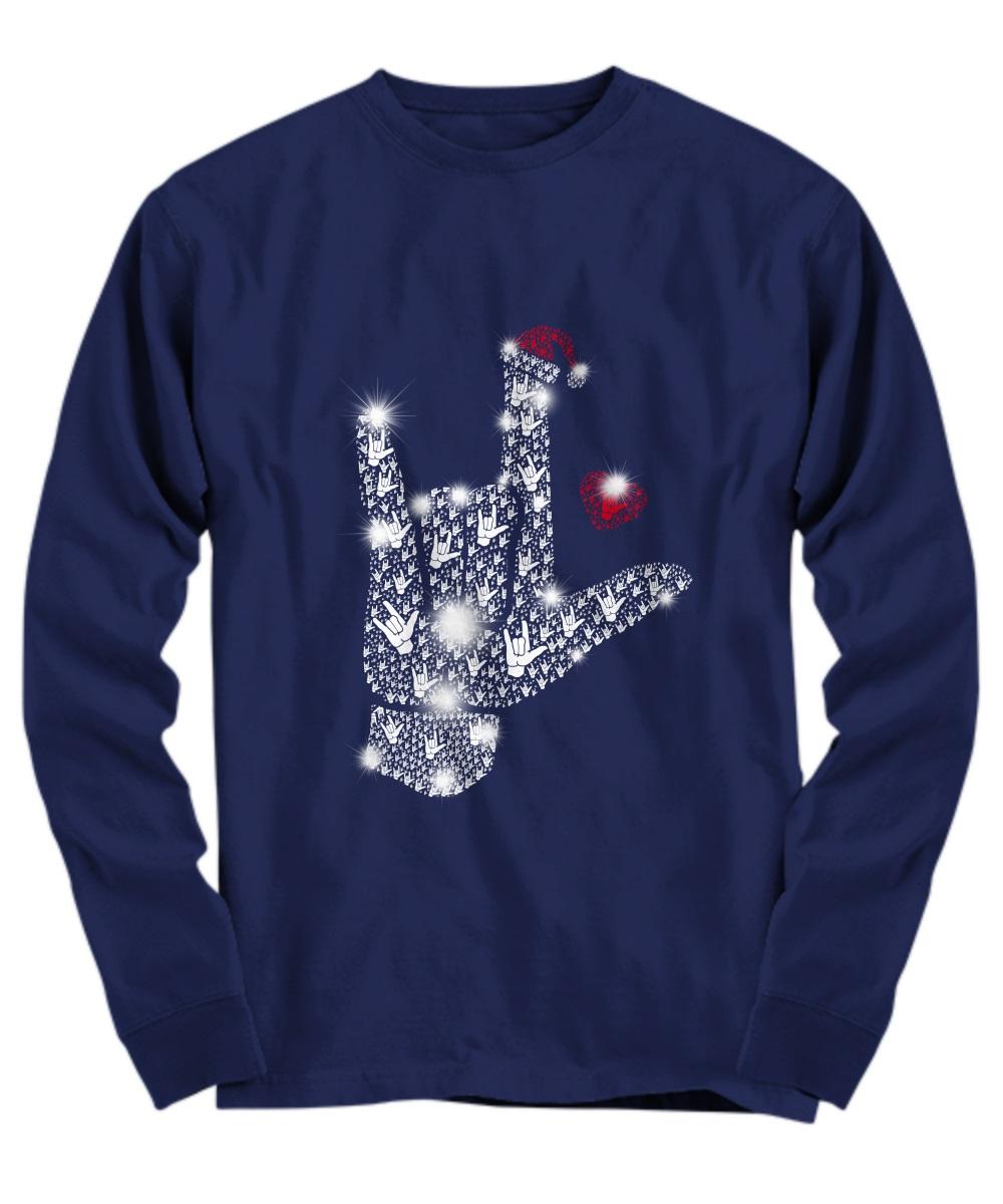 Rock on hand sign Rhinestone Christmas long sleeve