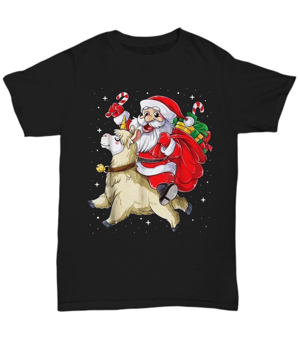 Santa riding Llamacorn christmas classic shirt