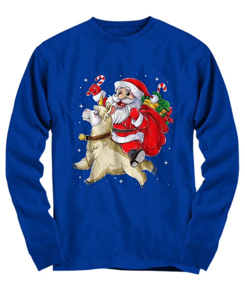 Santa riding Llamacorn christmas long sleeve