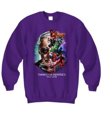 Stan Lee marvel heroes thanks for memories sweatshirt