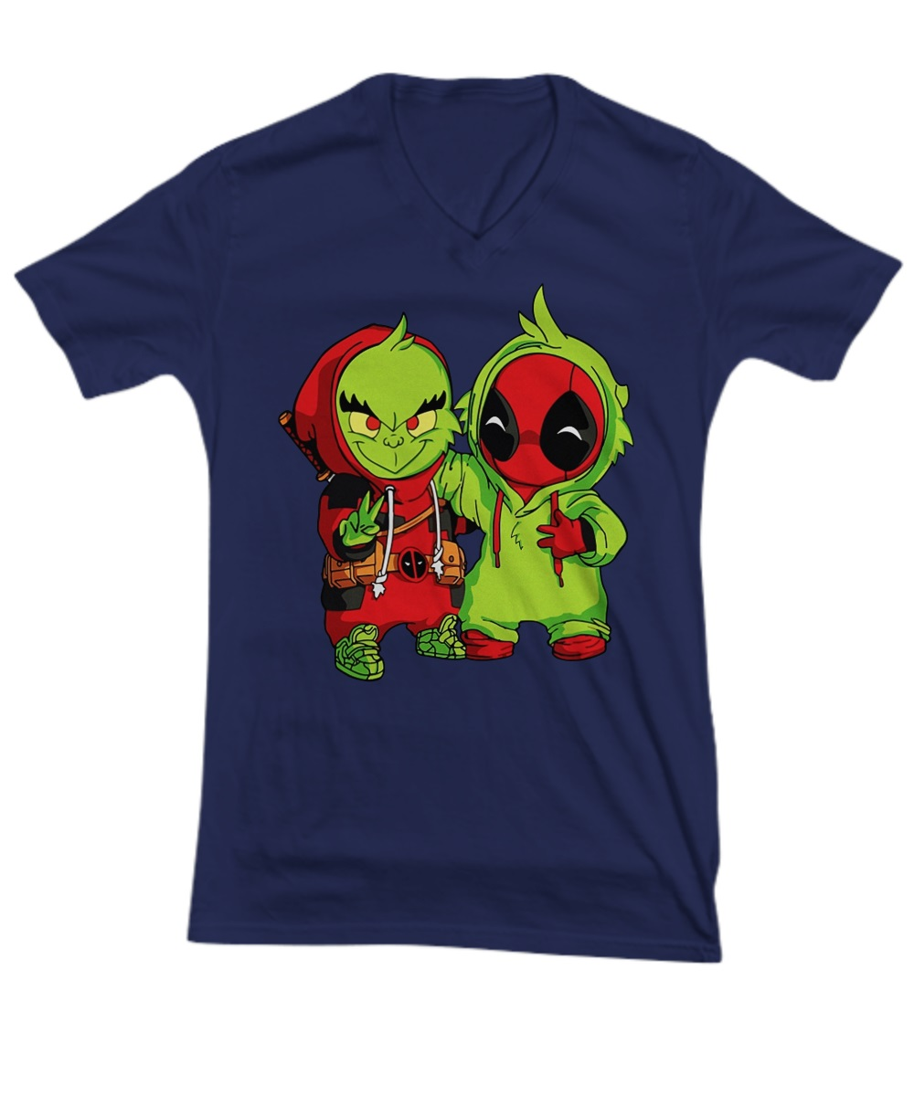 Baby grinch and baby deadpool v-neck