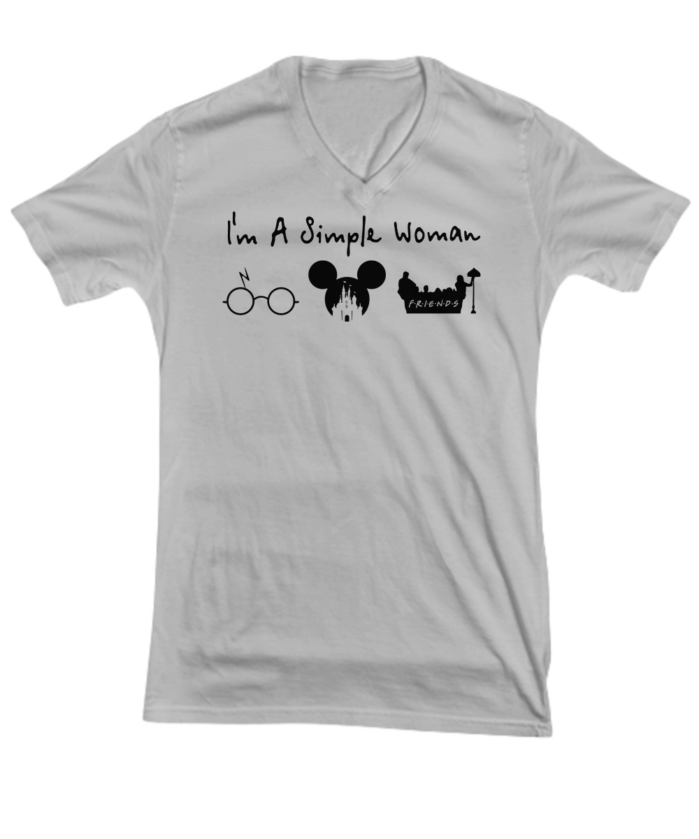 A simple woman who love Harry Potter Disney and Friends v-neck