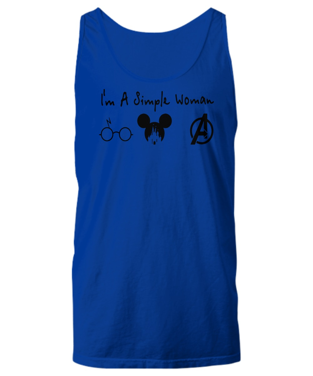 I'm a simple woman who love Harry Potter Disney Avenger tank top