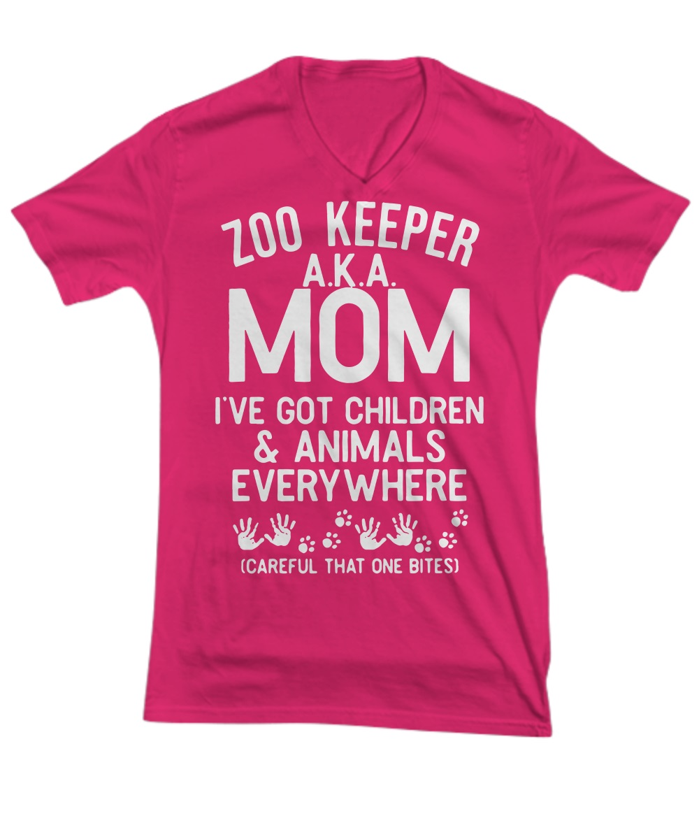 Zoo keeper aka mom I've got children and animals everywhere v-neck