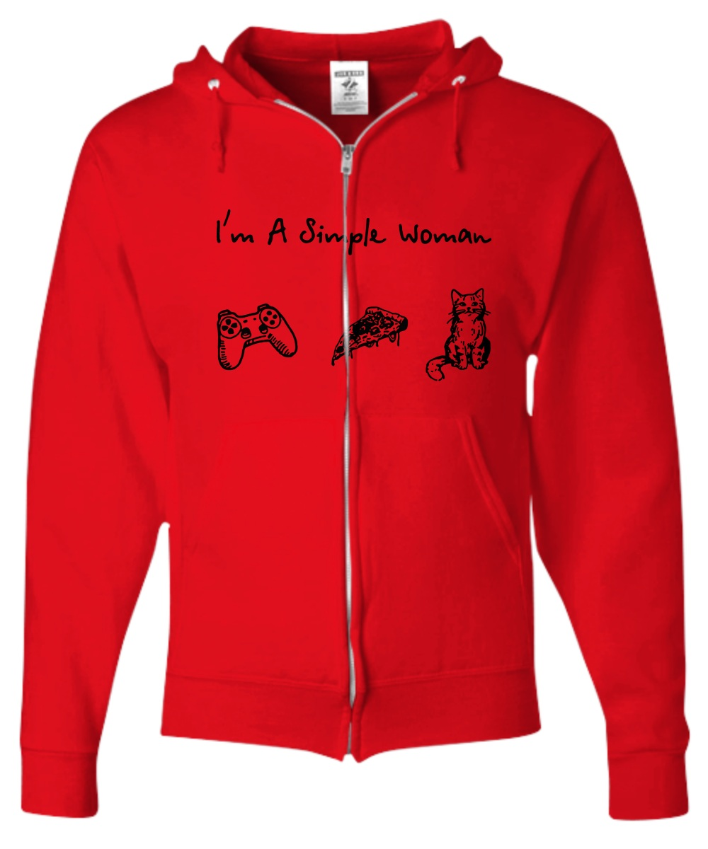 I'm a simple woman play game pizza cat hoodie