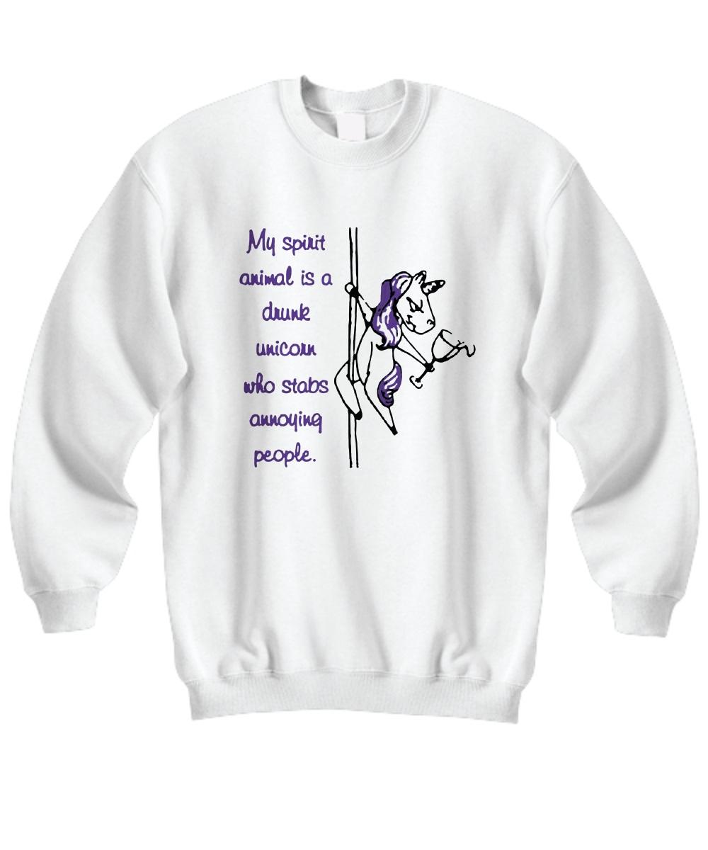 My spirit animal is a drunk unicorn who stabs annoying people mug and coffee Sweatshirt