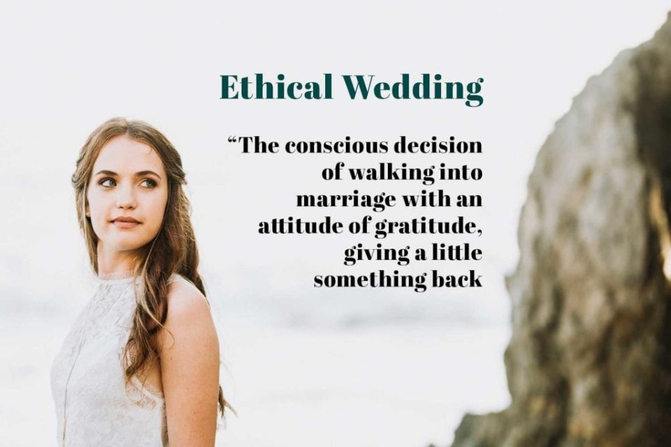 Quote about ethical weddings against portrait of a young women