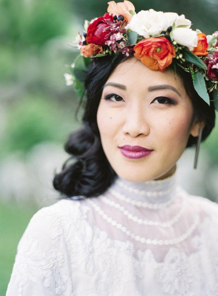 Portrait of bride wearing floral crown