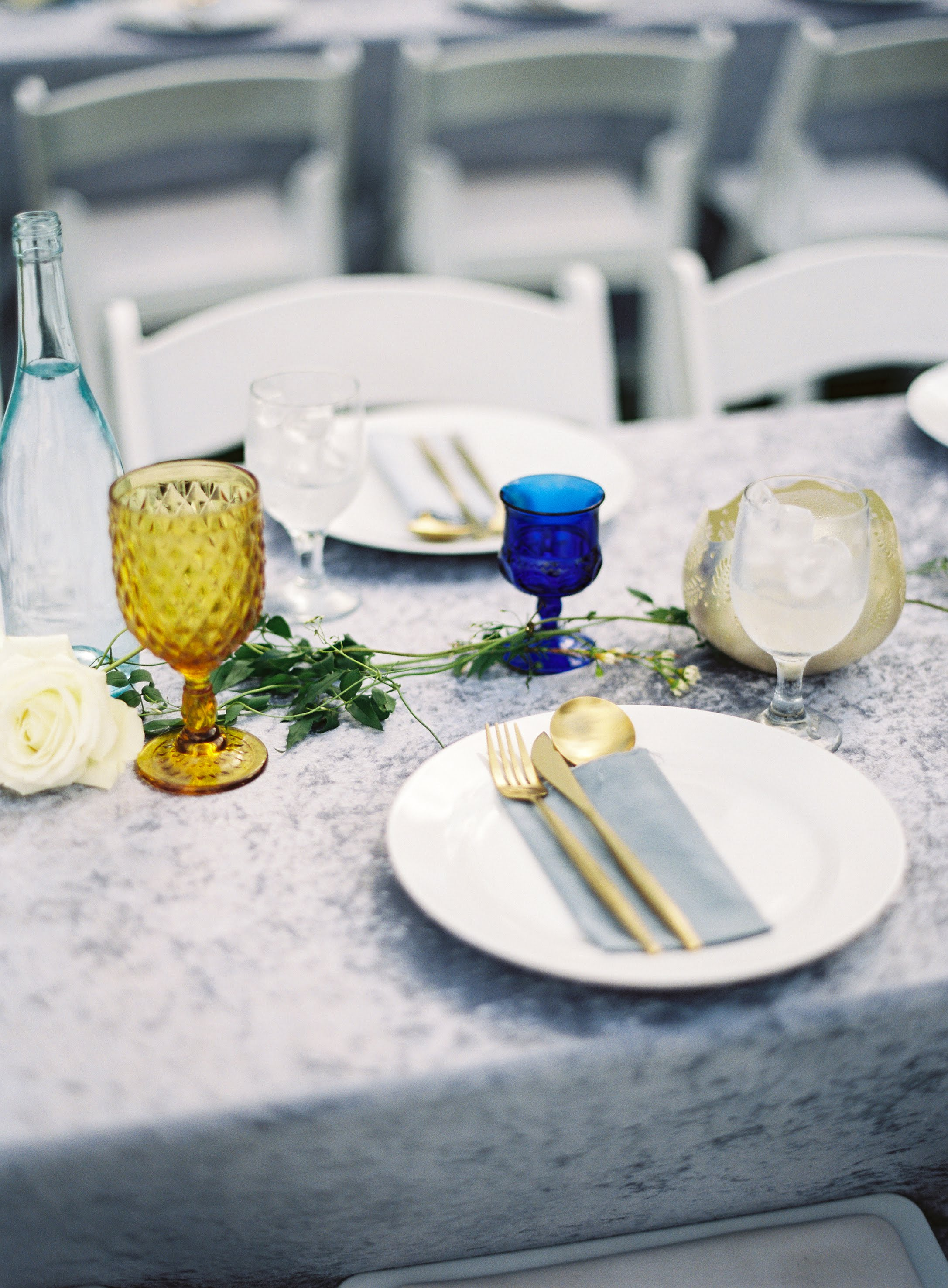 Up close shot of table settings and glasses