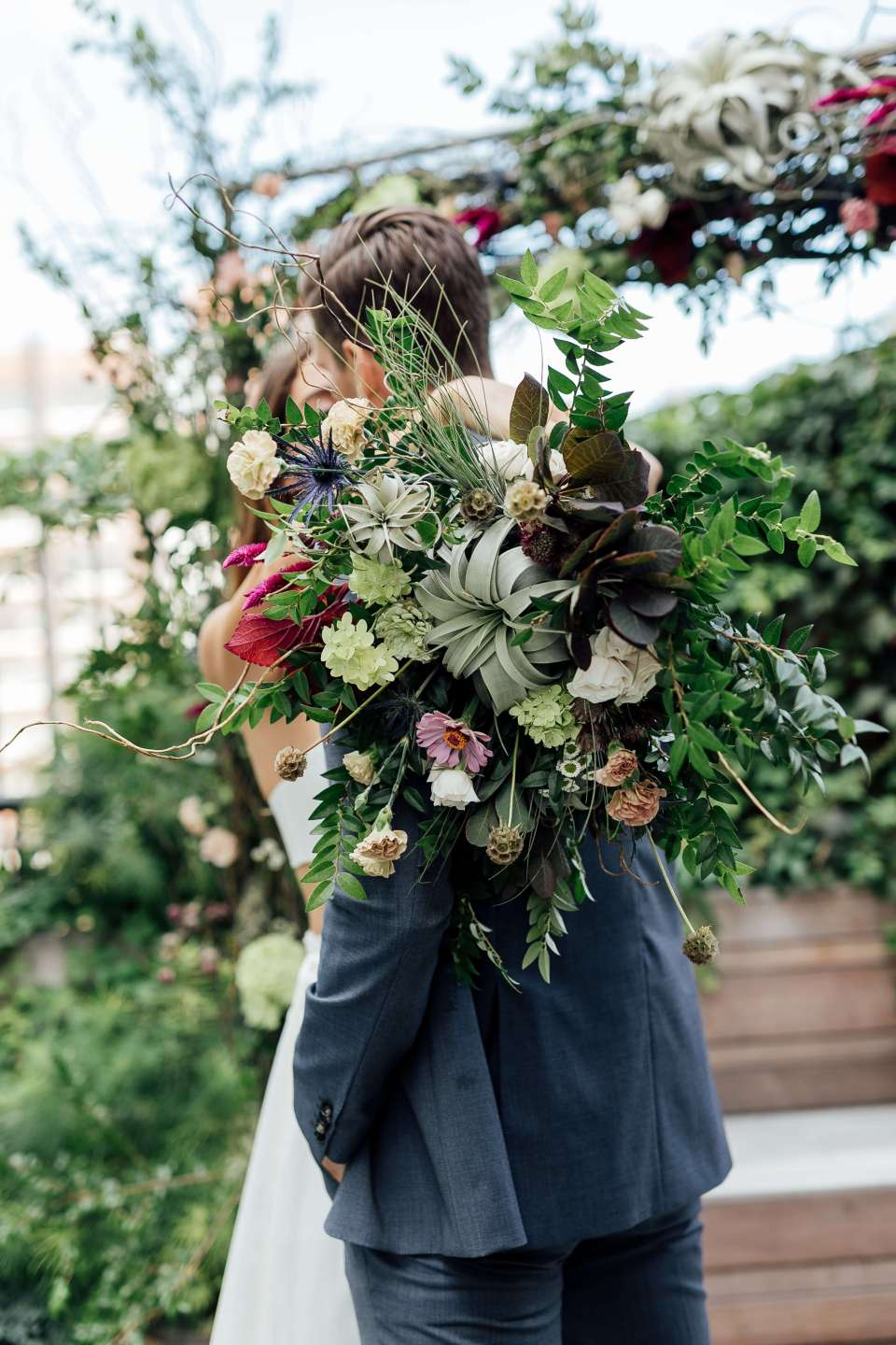 Pictured is a large bouquet of ethical wedding flowers from our ethical wedding styled photo shoot.