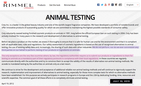 Rimmel Animal Testing Policy in 2015.