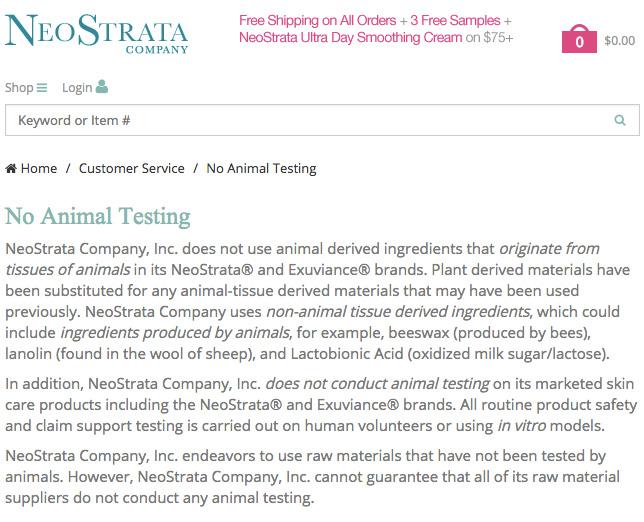 NeoStrata Animal Testing Policy - US