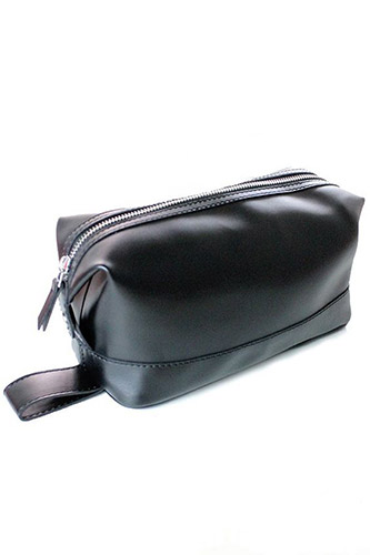 Vegan Leather Washbag Black by Will's London