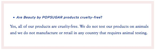 Beauty by POPSUGAR Cruelty-Free Claims