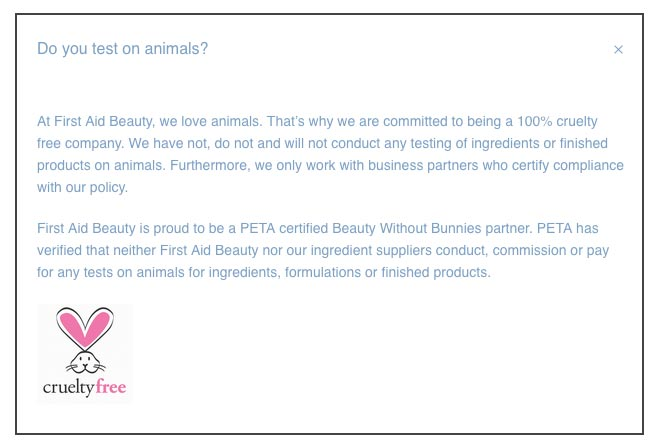 First Aid Beauty Animal Testing Policy