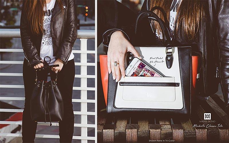 Marsi Bond vegan leather handbags on Amazon.