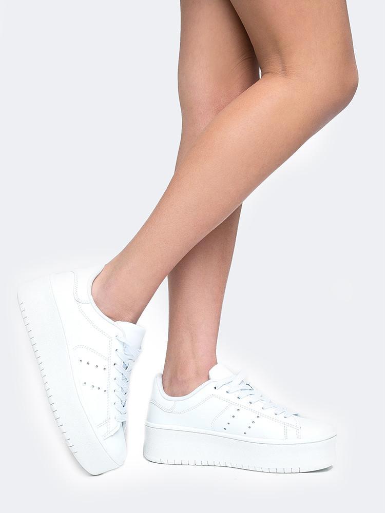 J. Adams' White Lace Up Platform Vegan Sneakers