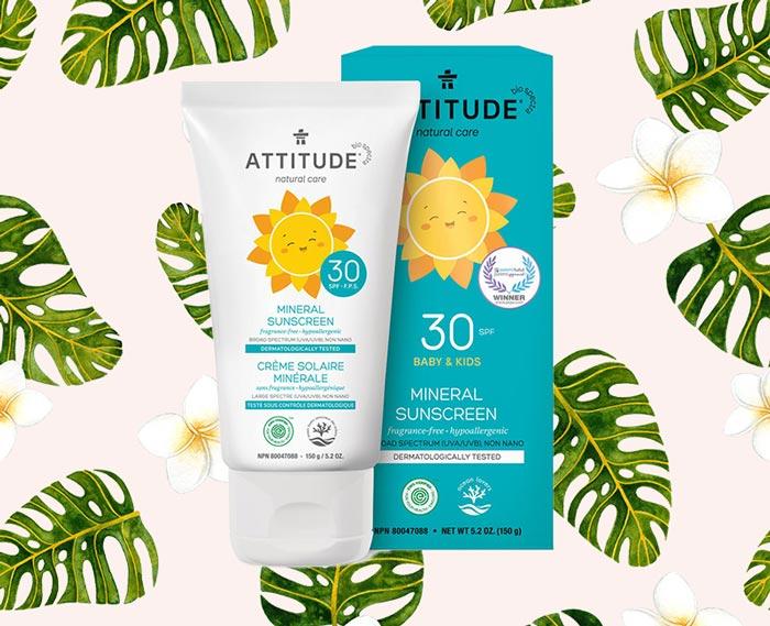 ATTITUDE Natural Care Mineral Sunscreen, SPF 30, Fragrance Free