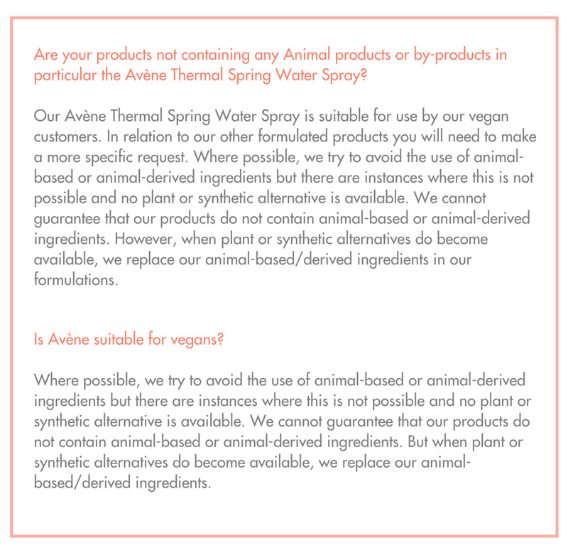 Is Avene Vegan?