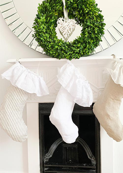 shabby chic Christmas linen stockings