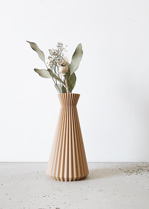 Origami wood vase