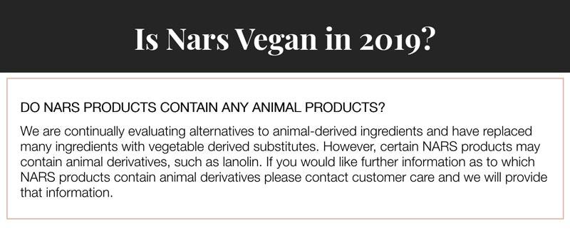Is Nars Vegan?