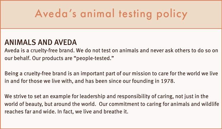 Aveda's animal testing policy