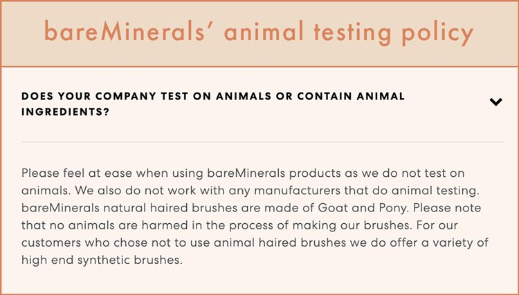 bareMinerals' animal testing policy