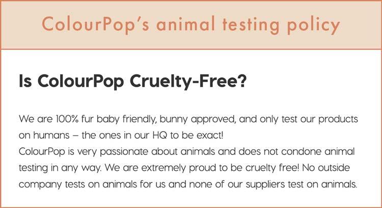 ColourPop's cruelty-free claims