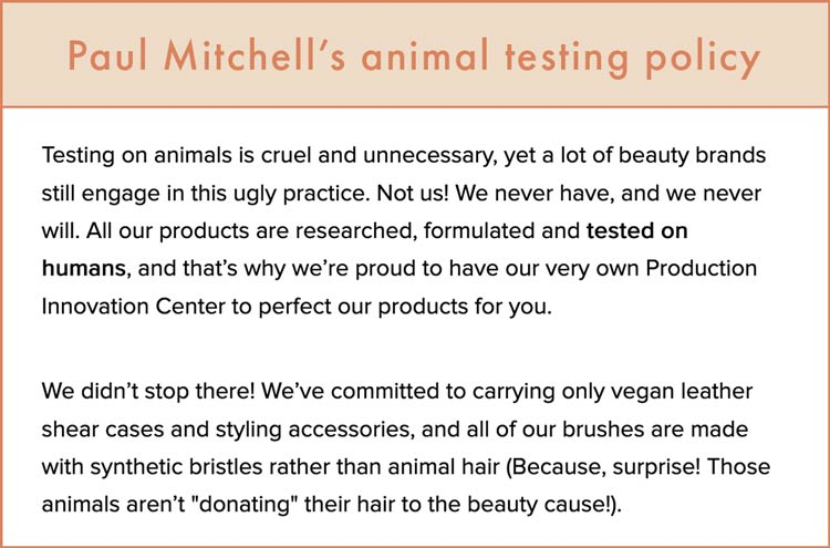Paul Mitchell's animal testing policy