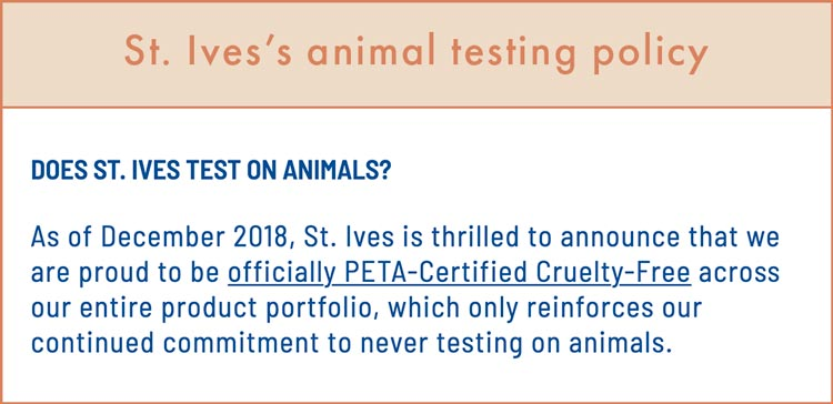 St. Ives Cruelty-Free Claims & Animal Testing Policy