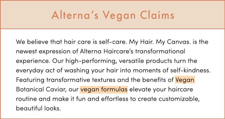 Alterna Haircare Vegan Claims