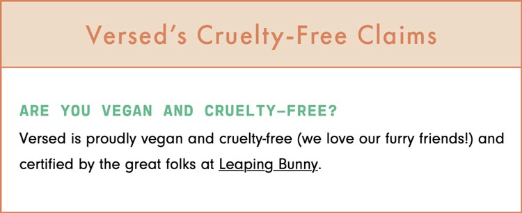 Versed Cruelty-Free Claims