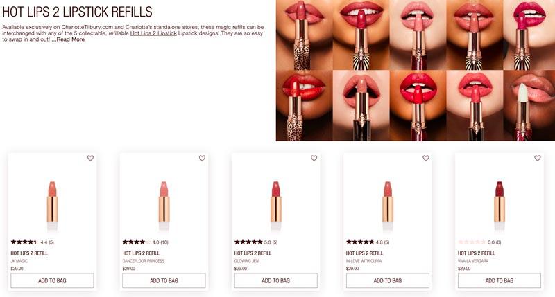 Charlotte Tilbury Hot Lips Refillable Lipsticks