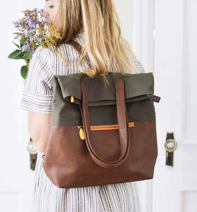 Organic Cotton & Vegan Leather Backpack by Canopy Verde