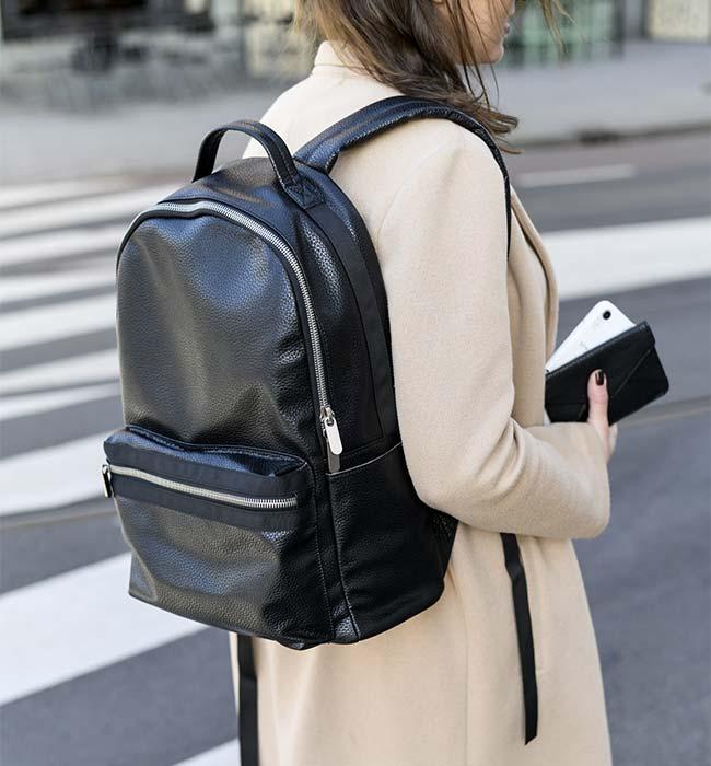 Black Vegan Backpack by Denise Roobol